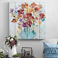 Bright Flowers in Vase Slatted Wood Art Print