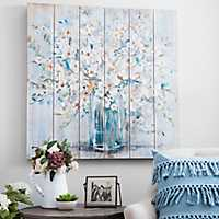White and Blue Soft Floral Slatted Wood Art Print