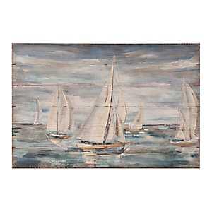Sailing in Blue Slatted Wood Art Print