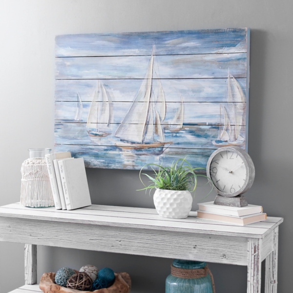 Sailing in Blue Slatted Wood Art Print