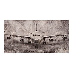 Black and White Airplane Fly Off Wood Art Print