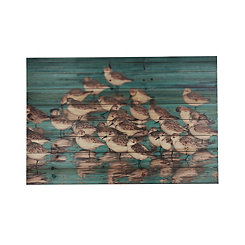 Blue Beach Birds Wood Art Print