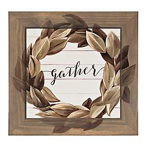 Gather Magnolia Wreath Framed Art Print