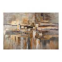 Gray and Gold Abstract Canvas Art Print