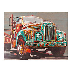 Metal Truck on Wood Art Print