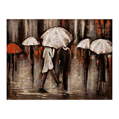 White Umbrellas Wood with Metal Art Print