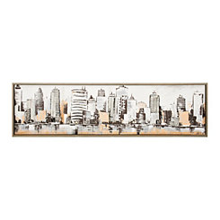 Metallic Skyline Framed Canvas Art Print