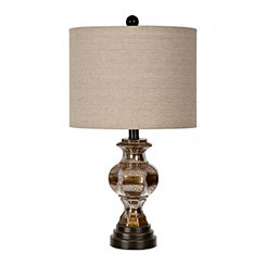 Mercury Glass and Faux Wood Table Lamp