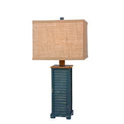 Antique Blue Shutter Table Lamp