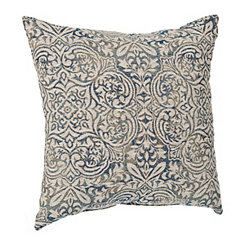 Indigo Faded Damask Pillow