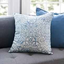 Indigo Faded Damask Pillow