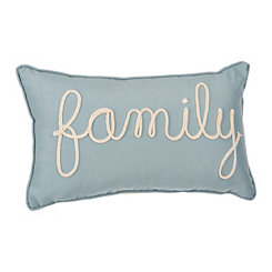 Blue Family Applique Pillow