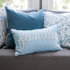 Blue Family Applique Pillow