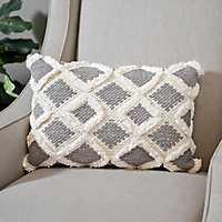 Gray Flannel Diamond Fringe Pillow