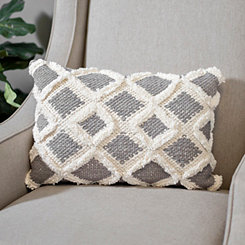 Gray Flannel Diamond Fringe Pillow