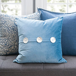 Blue Samuel Velvet Button Pillow