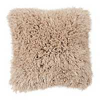 Taupe Shag Fur Pillow