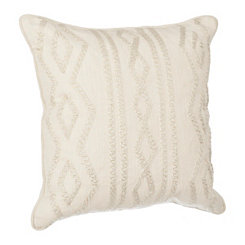 Ivory Linen Metallic Embroidered Pillow