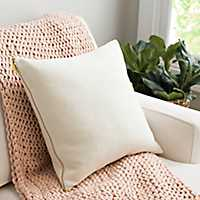 Ivory Exposed Zipper Pillow