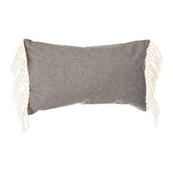 Gray Linen Accent Pillow with Tassel Fringe