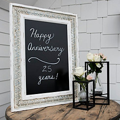Stamped Galvanized Metal and Wood Easel Chalkboard