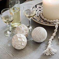 Distressed Ivory Deco Orbs, Set of 3