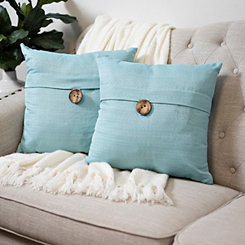 Aqua Textured Single-Button Pillows, Set of 2