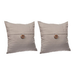 Gray Textured Single-Button Pillows, Set of 2