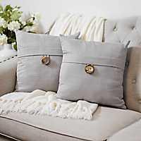 Gray Textured Single-Button Pillows, Set of 2