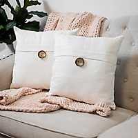 Ivory Textured Single-Button Pillows, Set of 2