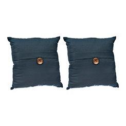 Navy Textured Single-Button Pillows, Set of 2
