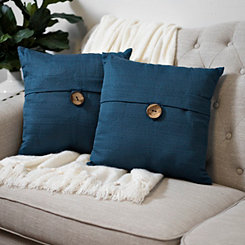 Navy Textured Single-Button Pillows, Set of 2