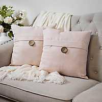 Rose Textured Single-Button Pillows, Set of 2