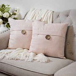 Rose Textured Single-Button Pillows, Set of 2