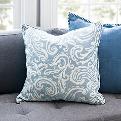 Blue Cloud Paisley Pillow
