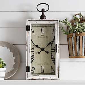 Rectangular Wood and Metal Wall Clock