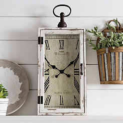 Rectangular Wood and Metal Wall Clock
