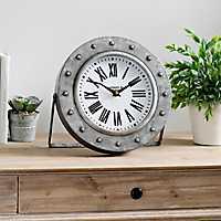 Round Galvanized Metal Tabletop Clock