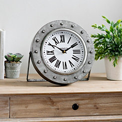 Round Galvanized Metal Tabletop Clock