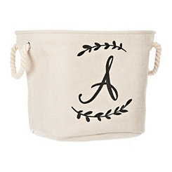 Cream Branch Monogram A Storage Bin