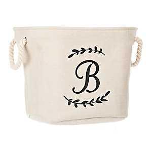 Cream Branch Monogram B Storage Bin