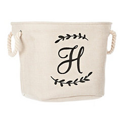 Cream Branch Monogram H Storage Bin