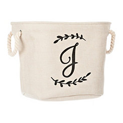 Cream Branch Monogram J Storage Bin