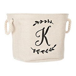Cream Branch Monogram K Storage Bin