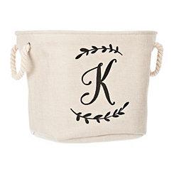 Cream Branch Monogram K Storage Bin