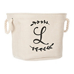 Cream Branch Monogram L Storage Bin