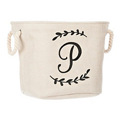 Cream Branch Monogram P Storage Bin