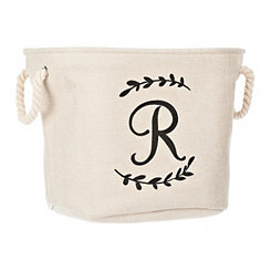 Cream Branch Monogram R Storage Bin