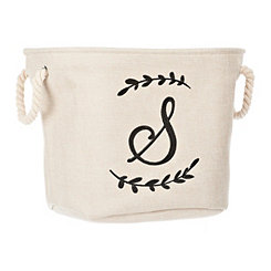 Cream Branch Monogram S Storage Bin