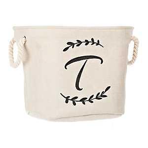 Cream Branch Monogram T Storage Bin
